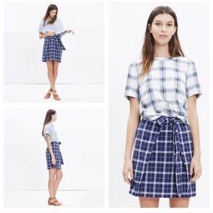 {Madewell} Blue Plaid Tie Skirt - Medium
